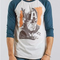 Captain America 3/4 Sleeve Raglan - Long Sleeve - Tops - Mens
