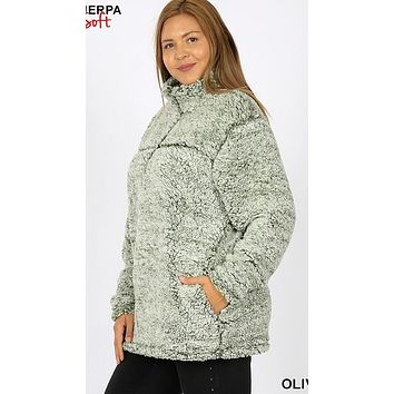 Plus Size Soft Sherpa Half Zip Pullover with Side Pockets