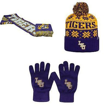 Licensed NCAA LSU Tigers Spirit Scarf Subartic Beanie Hat And TOW Knit Glove 3Pk 24323 KO_19_1