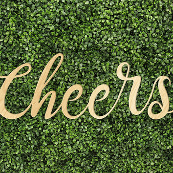 Cheers Bar Drink Wedding Home Decor Trendy Printed Calligraphy Custom Wood Sign