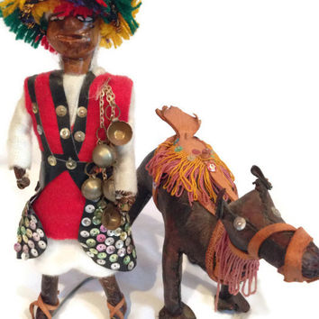 2 Pc Vintage Handcrafted Leather Figurines from India - Man and Camel