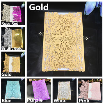 50pcs Laser cut Gold Wedding Invitations Envelope invitaciones de boda convite de casamento Wedding Invitation Cards decoration