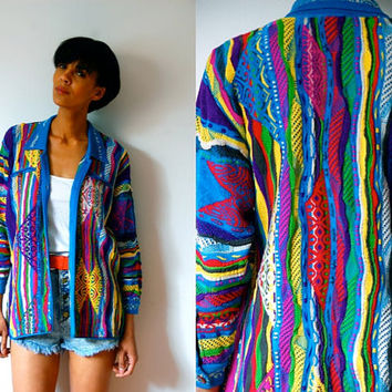 Vtg Colorful Coogi Mixed Patterns Button Down Cotton Knit Sweater