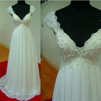 Scalloped V-neck Floor Length Beach Wedding Dress with Beading Boho Bridal Gown