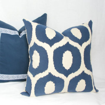 "Navy & natural decorative throw pillow cover. 18"" x 18"". 20"" x 20"". 22"" x 22"". 24"" x 24"". 26"" x 26""."