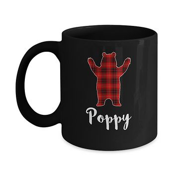 Red Poppy Bear Buffalo Plaid Family Christmas Pajamas Mug