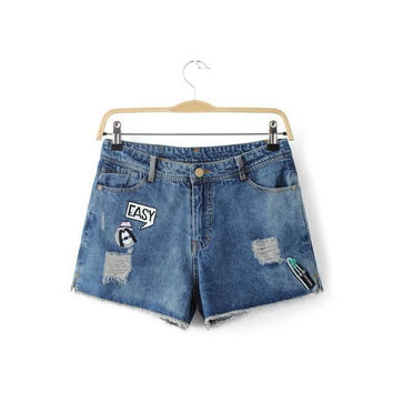 Summer Korean Print Embroidery Ripped Holes Denim Casual Shorts [6332309828]
