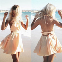 Cross strap backless Beach dress B0014708