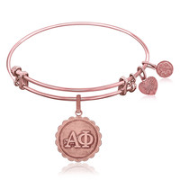 Expandable Bangle in Pink Tone Brass with Alpha Phi Finish Charm Symbol