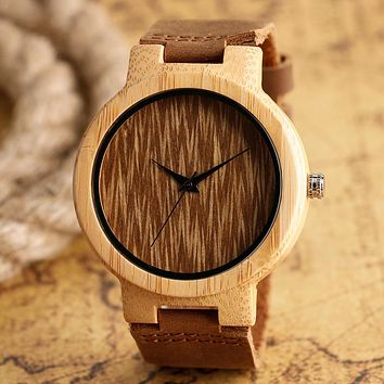 Casual Round Dial Bamboo Wood Watch Men Women Minimalist Wooden Novel Quartz Analog Clock Genuine Leather Unisex Christmas Gifts