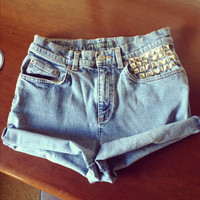 Studded High Waisted Shorts