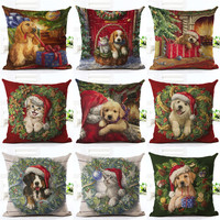 Christmas Decoration Pillow Cute Dogs and Cats Gift Cushion Cover Pillows Cotton Linen Christmas Tree Santa Claus Throw Pillow