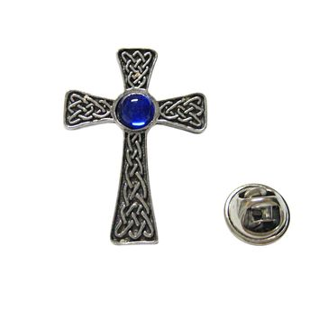 Large Celtic Cross with Blue Center Lapel Pin