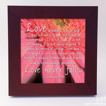Love is Patient, Love is Kind - 1 Corinthians 13 :4-8 - Framed 5x5 Print - Christian Wedding Print