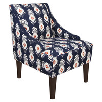 Quinn Swoop-Arm Chair, Blue/Orange