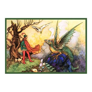 Dragon from Grotto by Warwick Goble Counted Cross Stitch Chart Pattern