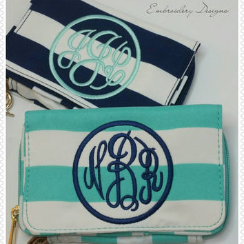 Monogrammed Cellphone Case Wristlet Wallet -Navy or Mint or Pink Stripe -Woman's Small Wallet Monogrammed- Zippered Cellphone Wristlet Pouch