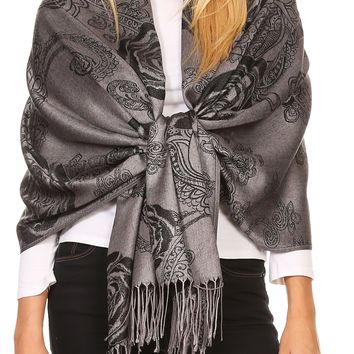 Sakkas Tessa Reversible Rose Brocade Warm Soft Scarf Wrap Stole with Fringe