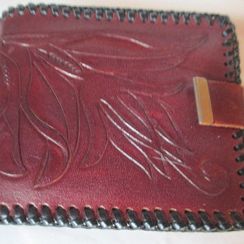 Vintage Leather Men's Tooled Laced Wallet 1970s Brown Chocolate Color Heavy Retro