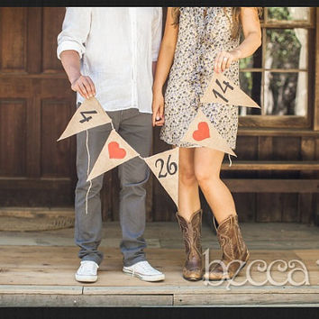 Save The Date Burlap Wedding Banner Photo Prop Wedding by afalasca