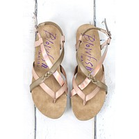 Granola Strappy Solar Metallic Sandals {Blush Taupe}