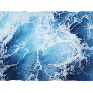 Blue Ocean Surf - Fleece Blanket, Nautical Decor Blue Coral Fleece Throw Cover Accent, Polar Fleece Thermal Wrap Blanket. Small Medium Large