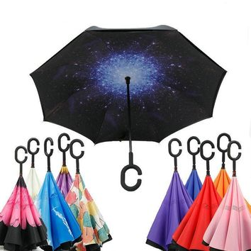 Ceiourich Blue Orange Color Double Layer Car Reverse Umbrellas With Pothook Windproof Fishing Shopping Umbrellas-001