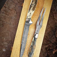 Damascus Steel Carving Set-J.L. Powell
