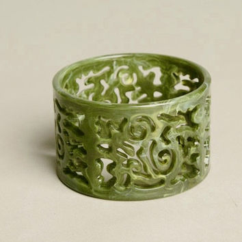 Statement Bracelet Green Swirls Wide Bangle Plastic Vintage Jewelry