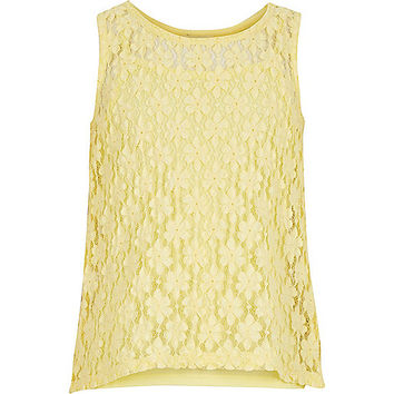 River Island Girls yellow lace open back top