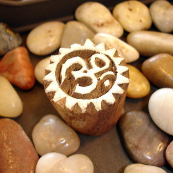 Hand Carved Om Wood Stamp: Handmade Indian Round Block Stamp, Wooden Stamp India