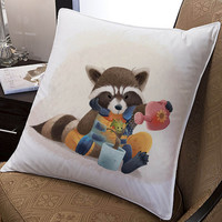 "rocket and groot guardian of galaxy pillow ---- pillow one and two side by  ""galaxyplatinum"","