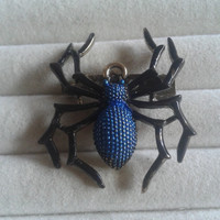 Closing sale - Halloween gothic blue spider  bronze brooch pin