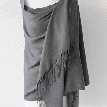 Pashmina Scarf Large Scarf Oversize Scarf Women Fashion Accessories Gift Ideas For Her Grey Gray