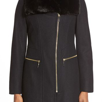 Women's Via Spiga Faux Fur Trim Asymmetrical Zip Front Coat,