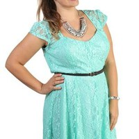 plus size lace belted skater dress with sweetheart shaped neckline - debshops.com