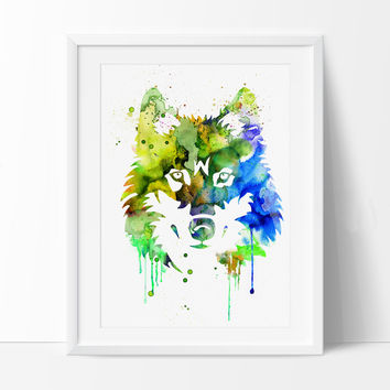 Large Abstract Painting, Wolf Watercolor, Wolf Art Print, Wolf Abstract Art , Wall Art Print, Wall Decor Art Home Animal Watercolor (125)