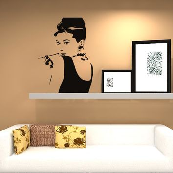 Creative Fashion Figure Painting Home Decoration Wall Stickers Audrey Hepburn Tobacco Pipe Wallpaper For Sofa Background Bedroom