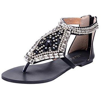 Women's Beach Thong Sandals Summer Bohemian Rhinestone Stud Beaded Flat Synthetic leather