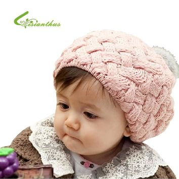 MOQ 1PCS Free Shipping Baby Item Lovely Cream Beret Baby Cute Winter Knit Crochet Beanie Hat Baby Kids Girls Gift TM009