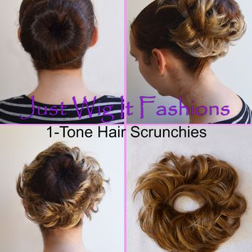 *1-Tone* Elastic Hair Piece Bun Scrunchie Scrunchy Like Human Hair Extension
