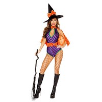 Roma Costume Adult Women Halloween Party Outfit 3 Piece Sweet Witch Purple/Black/Orange - Large