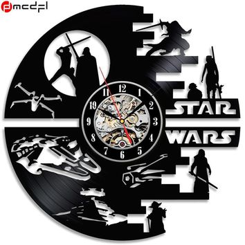 Star Wars Force Episode 1 2 3 4 5 Home Living Creative Clock CD Vinyl Record Wall Clock  Theme Home Decor 3D Hanging Watches Decoration AT_72_6