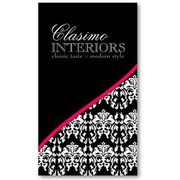 Classy Damask Interior Designer Business Card from Zazzle.com