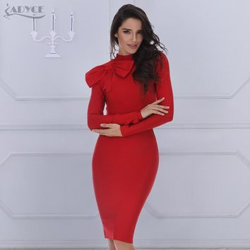 Bodycon Dress long sleeve high neck red dark green bow knee-length celebrity bandage dress
