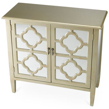 Sayre 2-Door Mirrored Cabinet, Champagne, Cabinets & Hutches