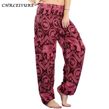 CHRLEISURE Women Elephant Boho Harem Pants Beach High Waist Pant Hippie Pants Bohemian Print Trousers Women Pantalon Femme
