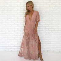 Wine & Dine Embroidered Maxi Dress in Blush Pink
