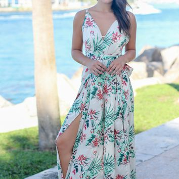 Ivory Tropical Jumpsuit with Side Slit