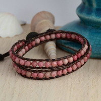 Pink bead rustic cottage chic style bracelet. Bohemian hippie jewelry